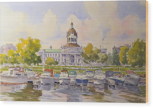 Kingston City Hall And Harbour Wood Print