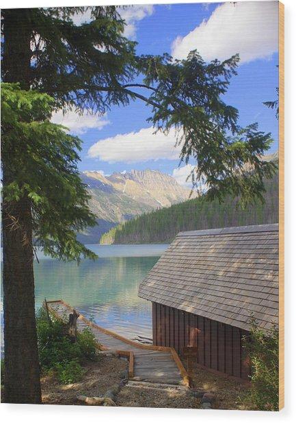 Kintla Lake Ranger Station Glacier National Park Wood Print