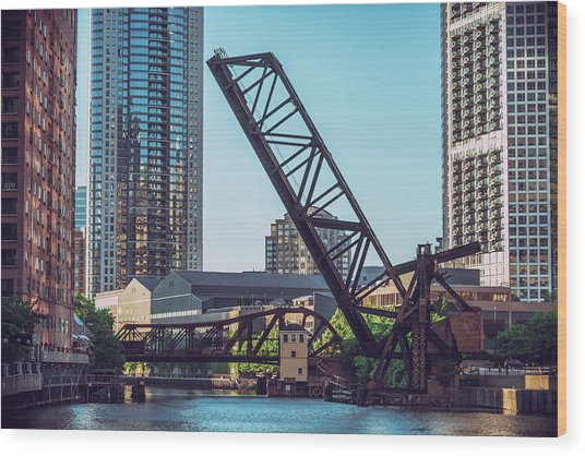 Kinzie Bridge And Rail Bridge Wood Print