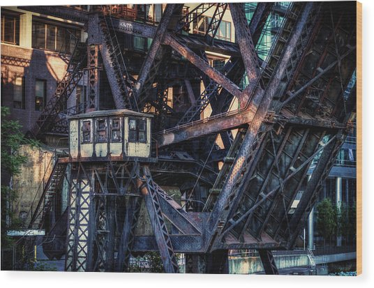 Kinzie Rail Bridge Detail Wood Print