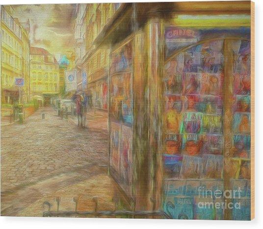 Kiosk - Prague Street Scene Wood Print