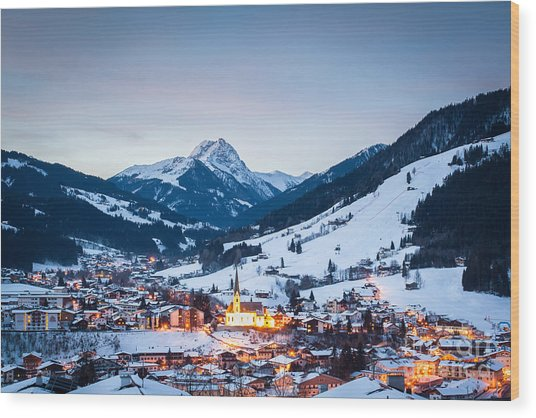 Kirchberg Austria In The Evening Wood Print