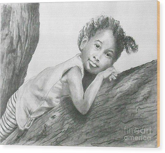 Kirikou, Dreaming -- Portrait Of Little African-american Girl Wood Print
