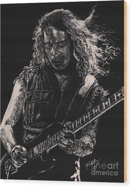 Kirk Hammett Wood Print by Kathleen Kelly Thompson
