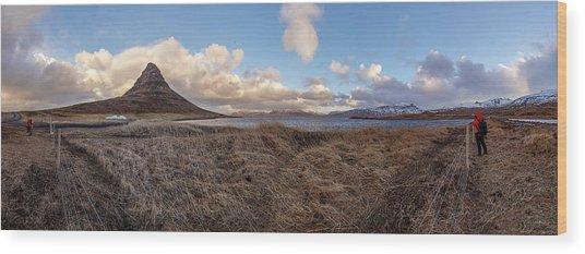 Wood Print featuring the photograph Kirkjufell Mountain Panoramic View, Iceland by Pradeep Raja PRINTS