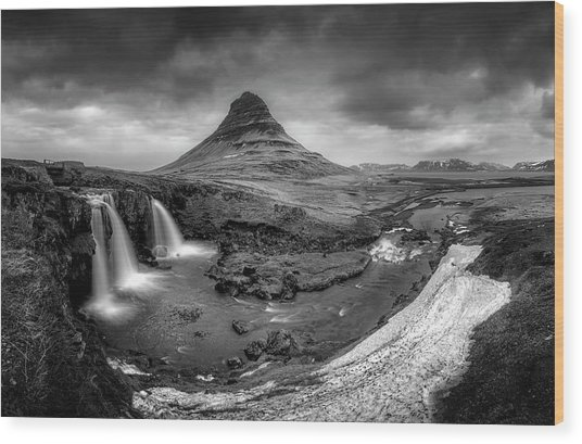 Kirkjufellsfoss Dawn Monochrome  Wood Print