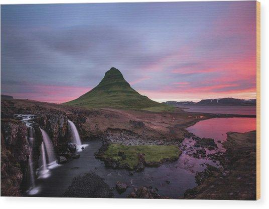 Kirkjufellsfoss Waterfalls Iceland Portrait Version Wood Print