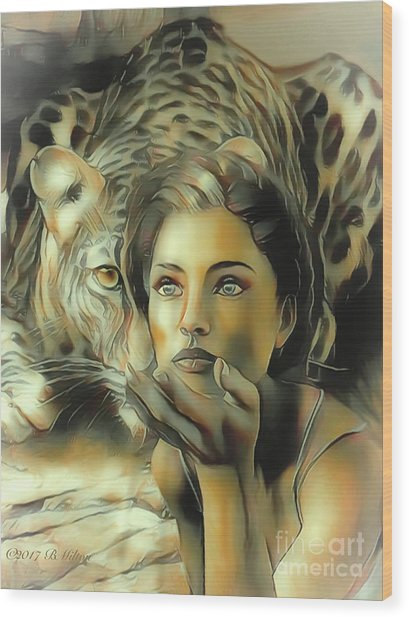 Kiss Of The Leopard Woman Wood Print
