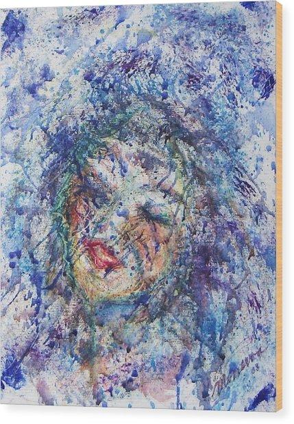 Kiss The Rain Wood Print by Cathy Minerva