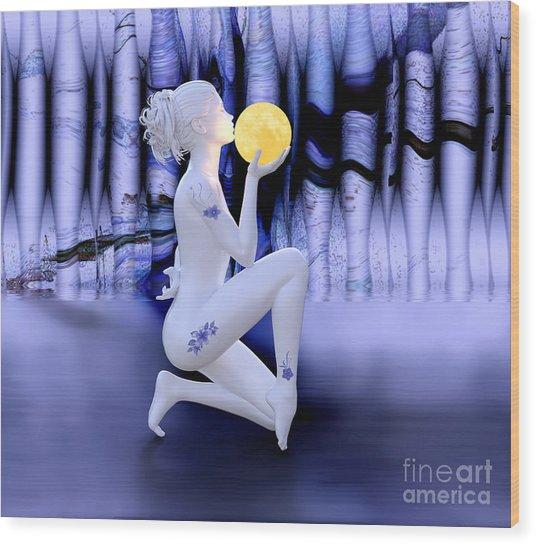 Kissing The Moon Wood Print