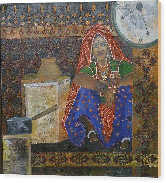 Kitchen Flower Wood Print by Fehmida Haider