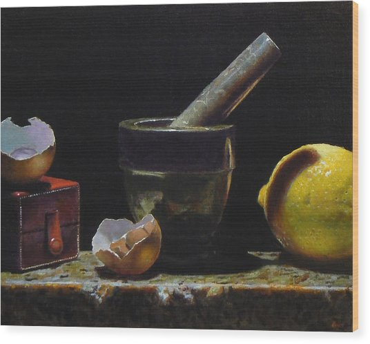 Kitchen Still Life With Red Box Wood Print by Jeffrey Hayes