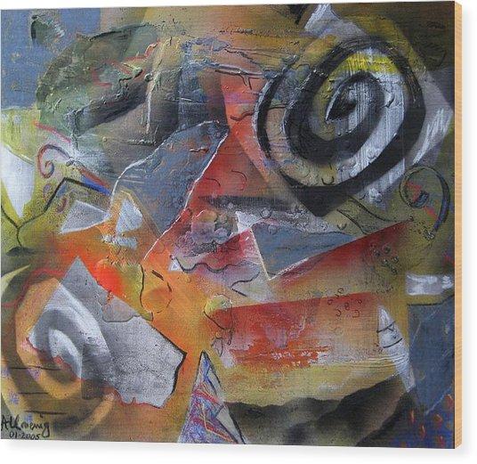 Kite-flying On Martian Plains Wood Print by Andrea Noel Kroenig