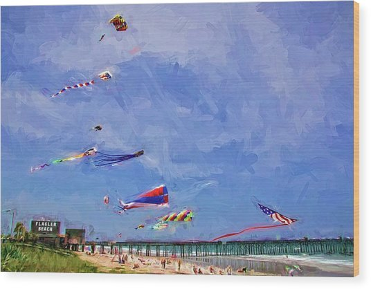 Kites At The Flagler Beach Pier Wood Print