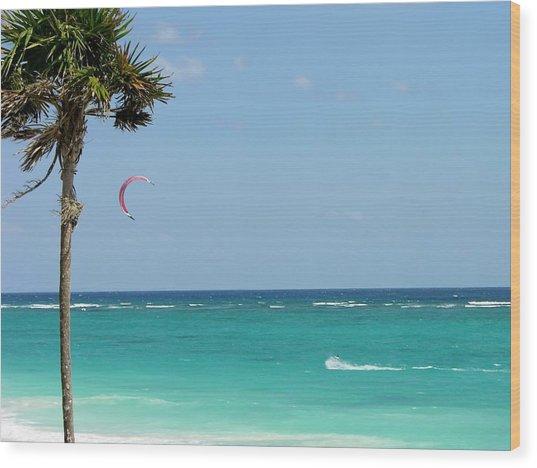 Kitesurfing The Caribbean Wood Print
