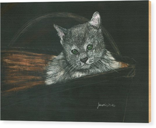 Kitten In A Basket Wood Print by Jessica Kale