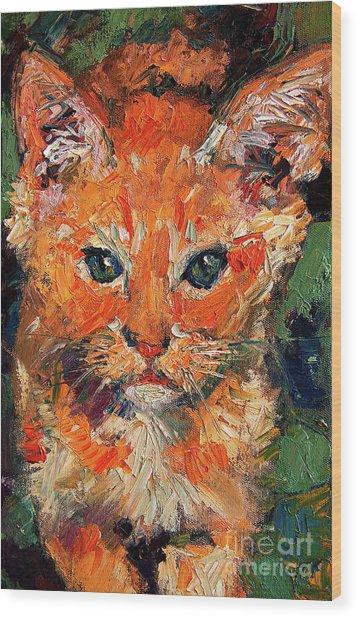 Kitten Orange Tabby Oil Painting Wood Print