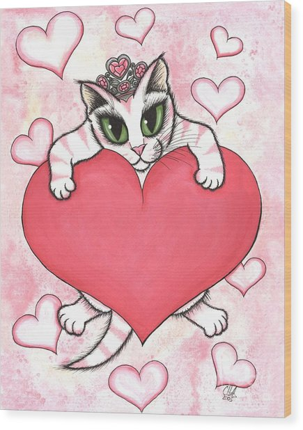 Kitten With Heart Wood Print