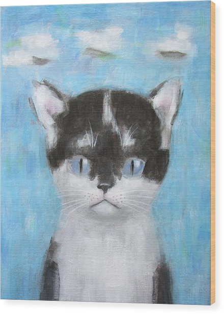 Kitten With Three Clouds Wood Print