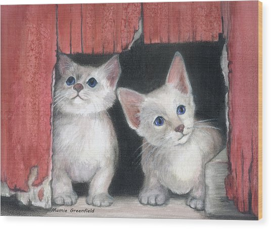 Kittens And Red Barn Wood Print