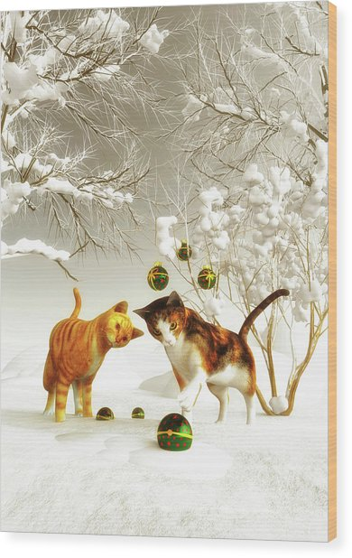 Wood Print featuring the painting Kittens At Christmas by Jan Keteleer