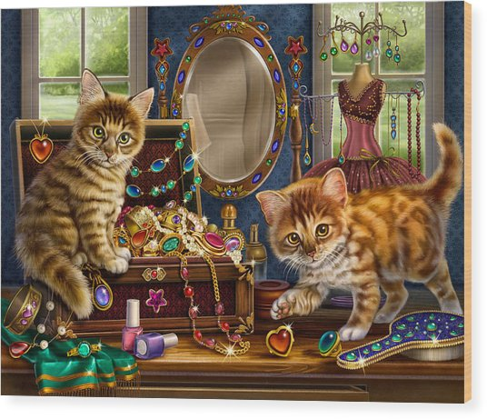 Kittens With Jewelry Box Wood Print