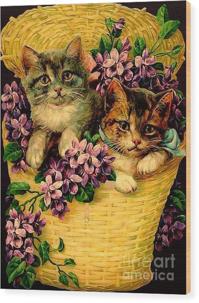 Kittens With Violets Victorian Print Wood Print