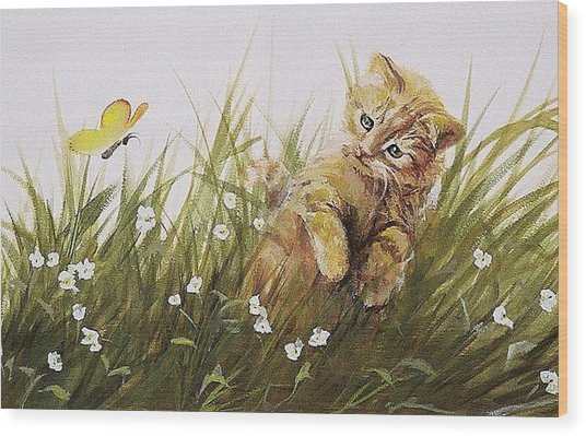 Kitty And Butterfly Wood Print