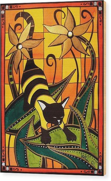 Kitty Bee - Cat Art By Dora Hathazi Mendes Wood Print