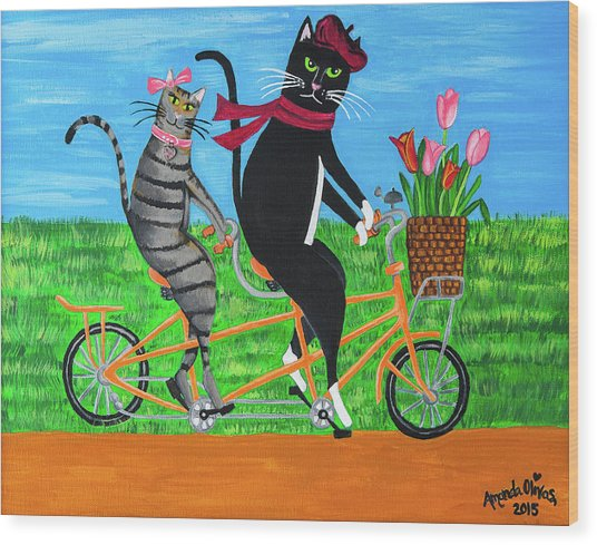 Kitty Cat Outing Wood Print