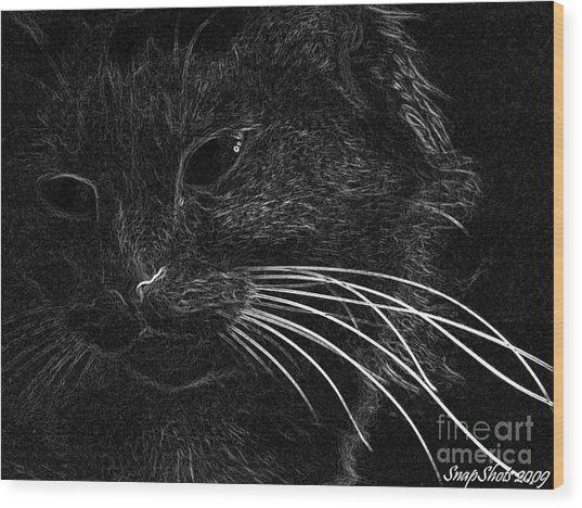 Kitty Wood Print by Emily Kelley