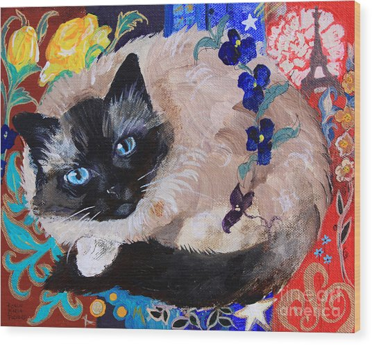 Kitty Goes To Paris Wood Print