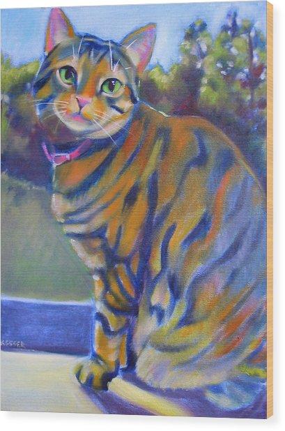 Kitty In The Window Wood Print