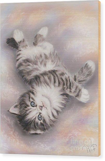 Kitty Wood Print by Valentina Vassilieva