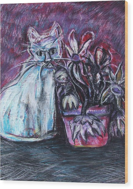 Kitty With Flowers Wood Print