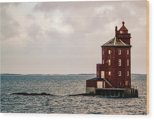Kjeungskjaer Lighthouse Norway Wood Print