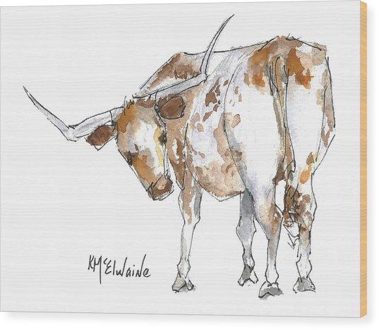 Kmcelwaine Logo Longhorn, Ollie, Texas Longhorn Art Print,watercolor Cow Painting, Whimsical, Wood Print
