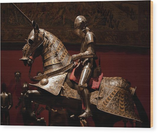 Knight And Horse In Armor Wood Print