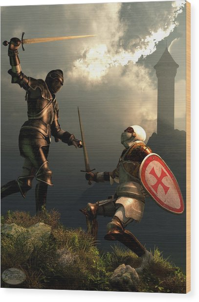 Knight Fight Wood Print