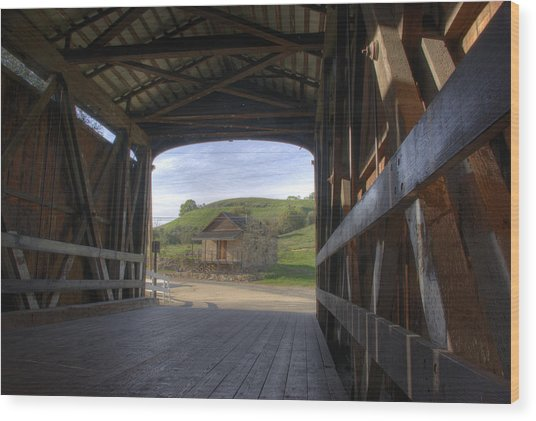Knights Ferry Covered Bridge Wood Print