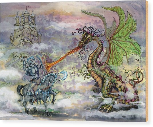 Knights N Dragons Wood Print