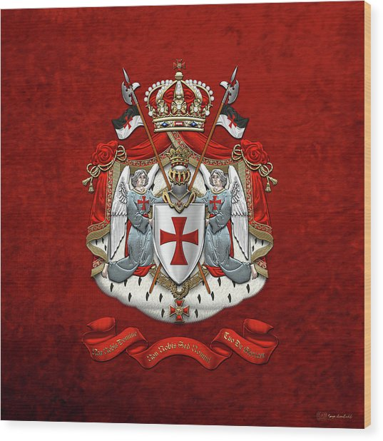 Knights Templar - Coat Of Arms Over Red Velvet Wood Print