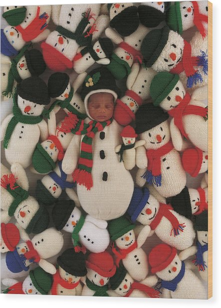 Knitted Snowman Wood Print