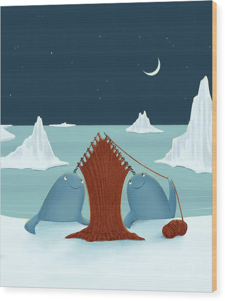 Knitting Narwhals Wood Print