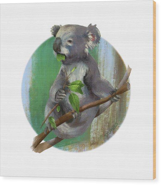 Koala Eating Wood Print