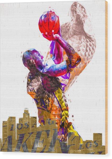 Kobe Bryant Los Angeles Lakers Digital Painting Snake 1 Wood Print