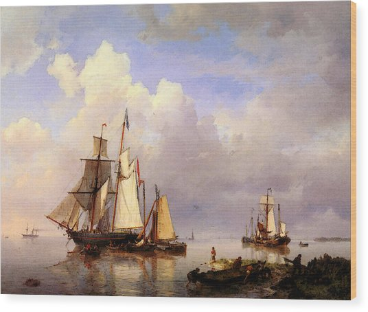 Koekkoek Hermanus Vessels At Anchor In Estuary With Fisherman Wood Print
