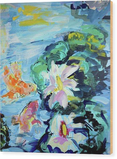 Koi Fish And Water Lilies Wood Print