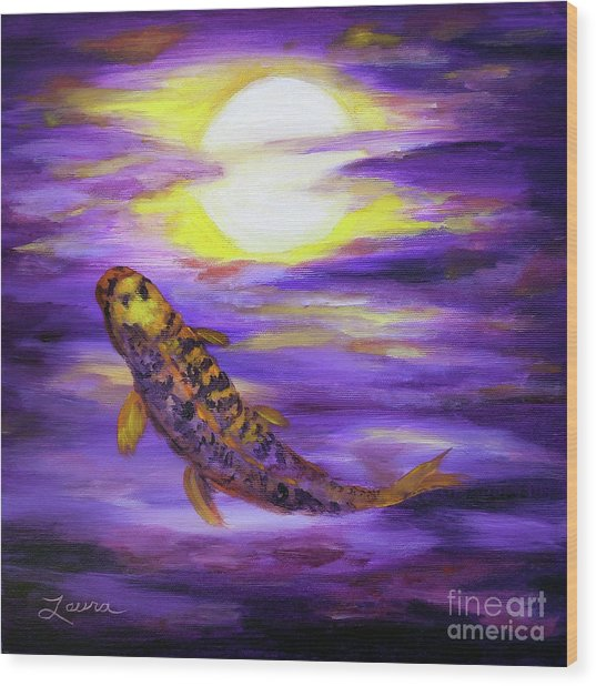 Koi In Purple Twilight Wood Print