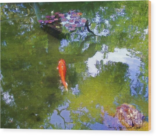 Koi In Reflective Water Garden Wood Print by Jerry Grissom